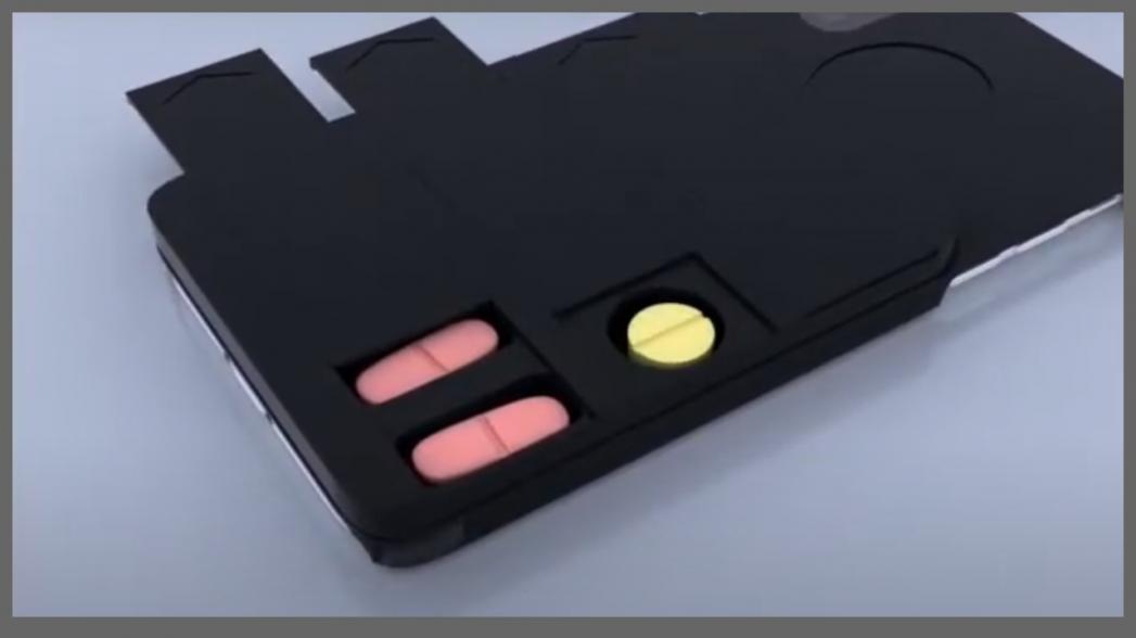Таблетки в чехле для телефона с ИИ